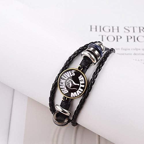 SUNSH Black Lives Matter Bracelets For Women Men BLM Leather Multilayer Adjustable Cuff Bangle Girls Boys Family Friendship Infinity Love Jewelry Gift