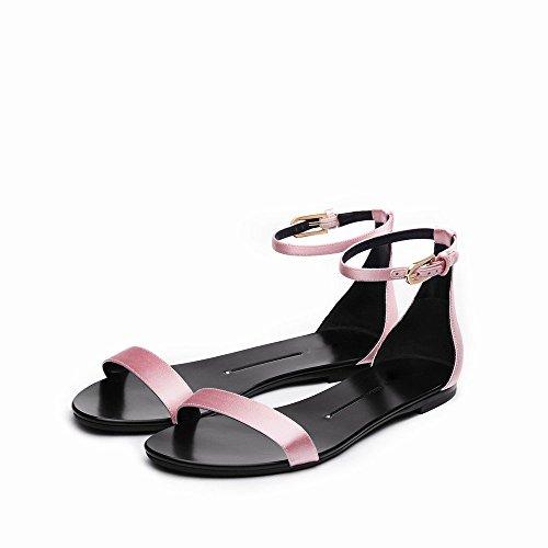 UNE Sandales Mot Mot D'Été Chaussures NSX Rond Chaussures Simples Plat Talon Bouton FqSqOxwA