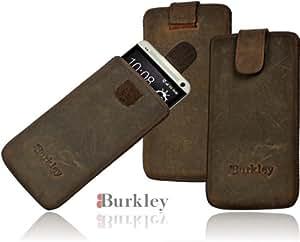 Burkley WETCASE-G6-M7 Premium Wetcase Antik - Funda de piel para HTC One (M7) (sistema Easy-Out, cierre de velcro), color gris y marrón