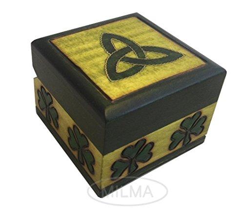 (Polish Handmade Wooden Celtic Shamrock Trinket Keepsake Jewelry Cufflink Ring Box)