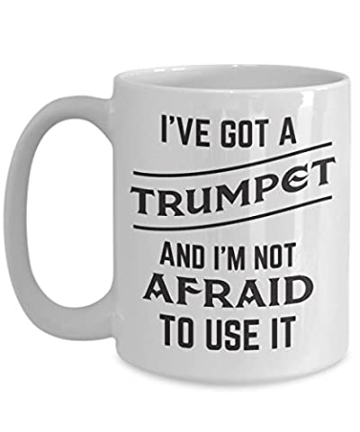 Novelty Trumpet Coffeee Mug Gifts for Players Themed Lover Ceramic Tea Cup New Marching Band Birthday for Men or (Marching Band Mug)