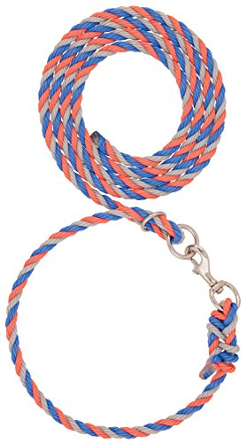 Weaver Leather Livestock Livestock Adjustable Poly Neck Rope, Blue/Coral/Gray, 1/2