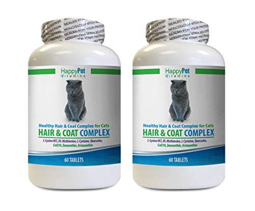 HAPPY PET VITAMINS LLC cat Skin and Coat Supplement - Cats Natural Hair and Coat Complex - Immune System Boost - Nail Health - cat Vitamin c - 2 Bottles (120 Tablets)