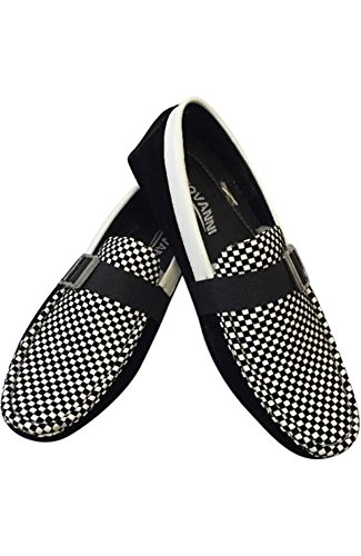 Men's Giovanni Loafer Dress Shoes Italian Style Slip On Suede White And Black Checkerboard Design M15-3 (8)