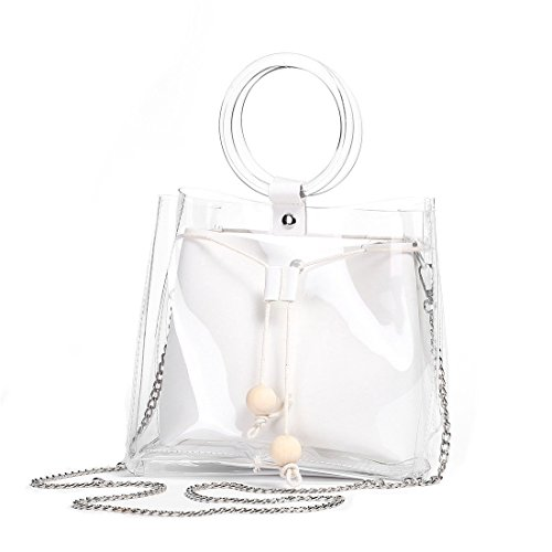 (Barabum Classy Waterprof Clear Tote Beach Shoulder Crossbody Bag)