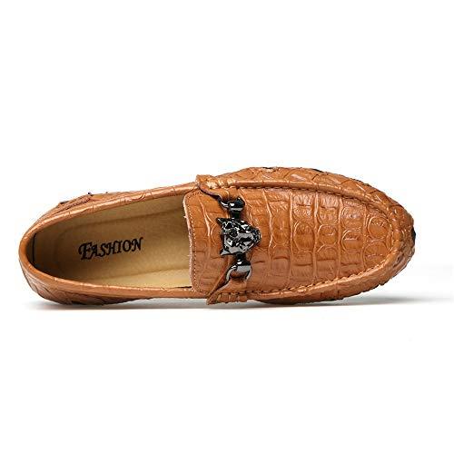 de 27 24 Moccasin de de Diseño los Zapatos Planos Negocio Cuero Tamaño Zapatos 0cm Suave genuinos Hombres 5cm conducción Zapatos Gommino Brown liviano Zgsjbmh del y Ocasionales único Zapatos WSvw6Bppq