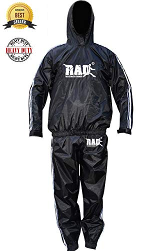 RAD Heavy Duty Sweat Suit Sauna Exercise Gym Suit Fitness, Weight Loss Anti Rip, with Hood (White, Medium) (Title Suit Sauna)