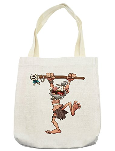 Ambesonne Skull Tote Bag, Prehistoric Witch Doctor Holding a Staff with a Skull in His Hands Illustration, Cloth Linen Reusable Bag for Shopping Groceries Books Beach Travel & More, Cream