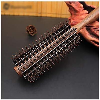 Qukick 黒いクルミの櫛の木製のハンドルの圧延のブラシ、帯電防止巻き毛の櫛 (サイズ : M)