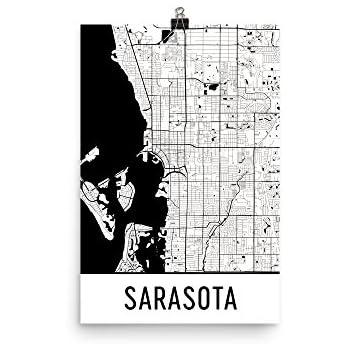 Map Sarasota Florida.Amazon Com Modern Map Art Sarasota Print Sarasota Art Sarasota