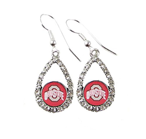 Ohio Crystal State - Ohio State Buckeyes Scarlet Teardrop Clear Crystal Silver Earrings Jewelry OSU