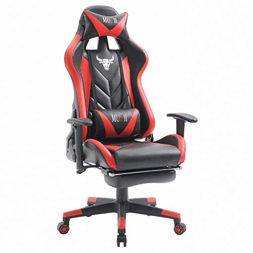 (Muzii Computer Gaming Chair,Adjustable Reclining High-Back PU Leather Office Chair,Racing Style Swivel Chair with Footrest Lumbar Support and Headrest (Black Red))