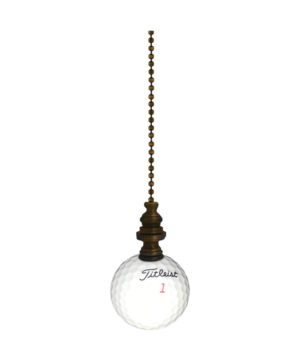 Golf Ball Lamp Fan Pull, 2.25''h with 12'' Antiqued Brass Chain by HomeConcept