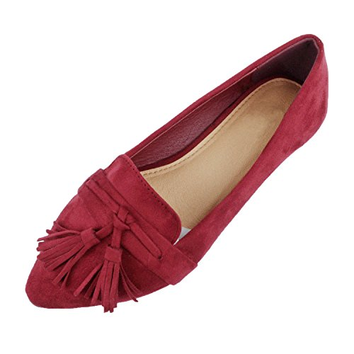 Guilty Heart | Women's Tassel Slip On Comfortable Pointy Toe Oxford Loafer | Faux Suede Espadrille Casual Flats Wine Suede