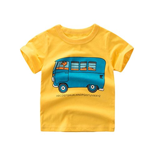 Hatoys Summer Infant Baby Kids Boys Girls T Shirts Tops Outfits Clothes (24M, Yellow)