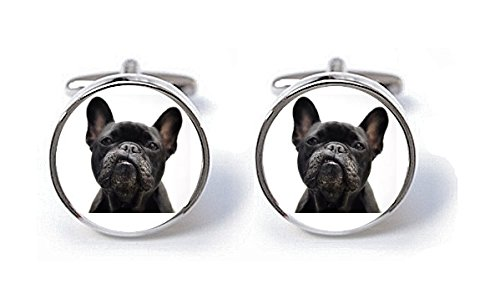 Black Bulldog Cuff Links,French Bulldog Photo Cufflinks,Dog Cufflinks,Handmade Cufflinks,Glass Round Silver Cufflinks,Charm Jewelry,Shirt Cufflinks,Vintage Style,