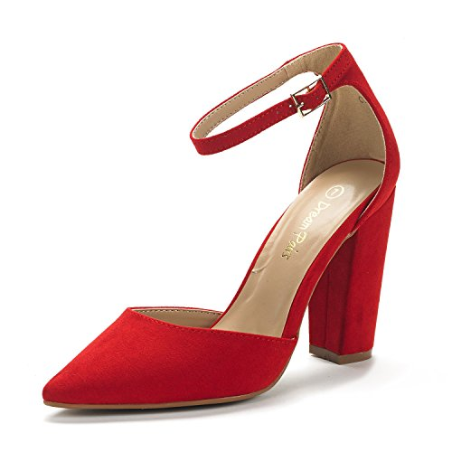 DREAM PAIRS Women's Coco Red Suede Mid Heel Pump Shoes - 6 M US