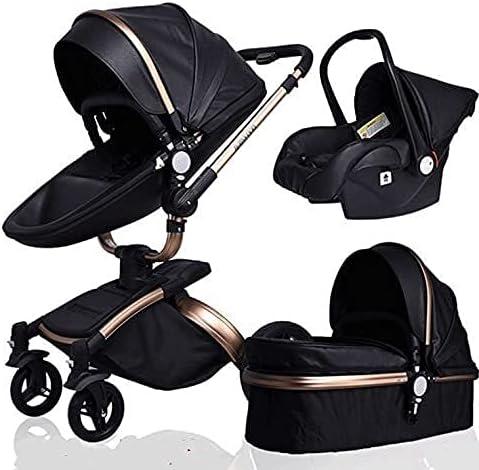 FXBFAG Three-in-one Black Leather Stroller, 360-degree Rotation, Eggshell Design, Shock-Absorbing Stroller, high-View Stroller, Foldable Stroller, Adjustable roof, Storage Basket