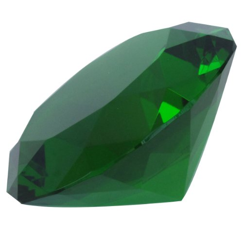 Emerald Cut Glass - Giant Green Cut Glass Diamond-Shaped Crystal