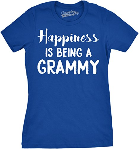 Crazy Dog T-Shirts Womens Happiness is Being a Grammy Funny Grandmother Tee for Grandma (Blue) - L