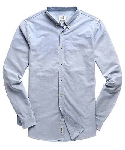 Men's Oxford Long Sleeve Button Down Casual Dress Shirt Light Blue Large