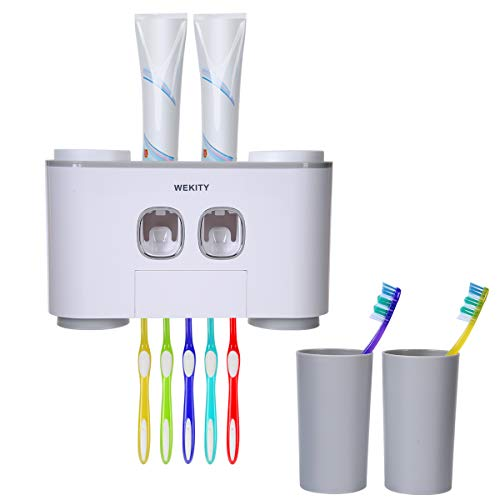 Wekity Toothbrush Holder Multifunctional Wall-Mounted Space-Saving Toothbrush and Toothpaste Squeezer Kit with Dustproof Cover, 5 Toothbrush Slots, 2 Automatic Toothpaste Dispenser and 4 Cups (Grey)