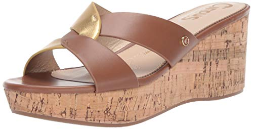 (Circus by Sam Edelman Women's Riviera Wedge Sandal, Saddle/Molten Gold Smooth Atanado Veg/New Metal Grain, 8.5 M US)