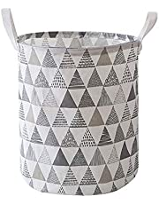 Large waterproof collapsible canvas basket barrel, with handles, can be used as storage boxes, children's toys storage, household finishing supplies(triangle pattern gray, φ13.78 * h16.34in)