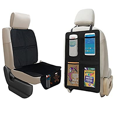 lebogner Car Seat Protector + Kick Mat Auto Seat Back Protector With 4 Organizer Pockets, Durable Quality Seat Covers + Waterproof Kick Guards To Protect Your Leather And Upholstery Seats From Damage
