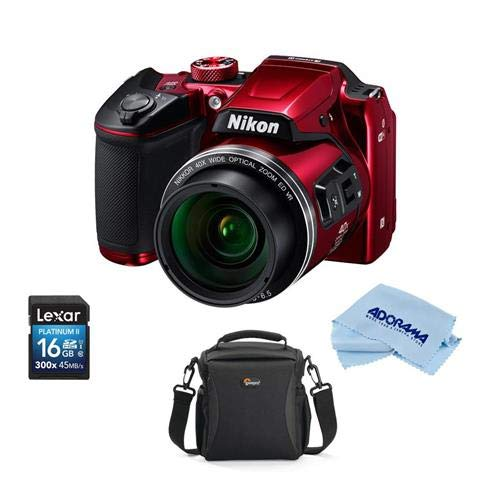 Nikon Coolpix B500 Digital Point & Shoot Camera, RED – Bundle with Camera Bag, 16Gb SDHC Card, Microfiber Cloth