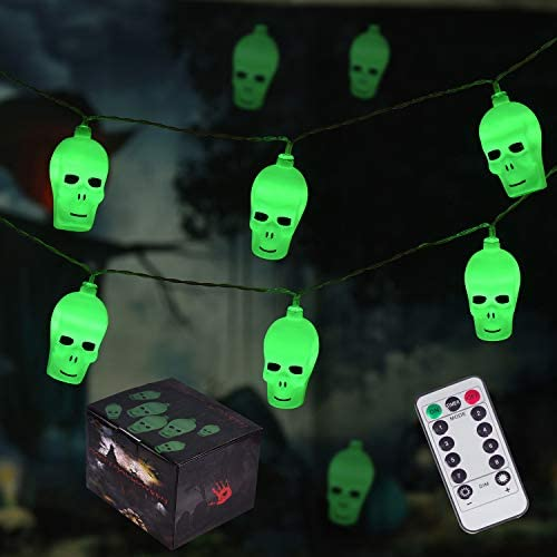 Halloween String Lights, Battery-Operated with Remote Control 20LED Skull String Lights for Indoor Outdoor Halloween Party Garden Yard Decoration