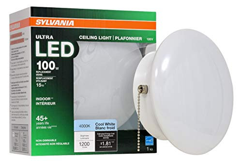 SYLVANIA General Lighting 75113 15W (100W Equivalent) Ultra LED Medium Base Retrofit for Ceiling Light Fixtures - 4000K (Bright White)