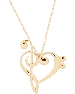Amazon 925 sterling silver treble and bass clef heart scroll 14k yellow gold plated treble and bass clef heart pendant w 18 cable chain aloadofball Images