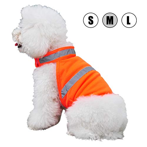 Kalining Reflective Dog Vest Orange High Visibility for Outdoor Activity Day and Night,Dog Safety Vest Hunting Jacket with Personalized Neon Color,Pet Fluorescent Cloth Conspicuous in Snow(M-Vest)