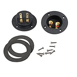 PIXNOR DIY Home Car Stereo Screw Cup Connectors Subwoofer Plugs  2-Way Speaker Box Terminal Binding Post, Pack of 2 (Black)