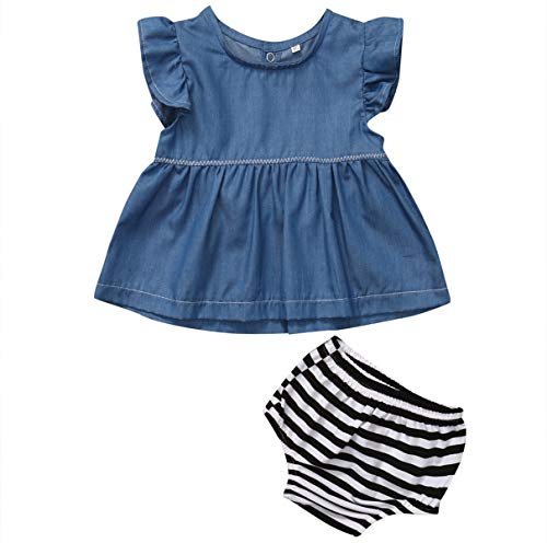 Summer Cute Baby Infant Baby Girl Clothing Denim T-Shirt Tops +Striped Bloomers Pants 2PCS Cowboy Bebek Giyim Clothes Full Moon Gift