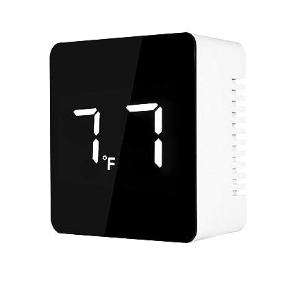 Vosarea Reloj Despertador LED Reloj Digital Reloj de Espejo con Hora y Temperatura mostradas (sin