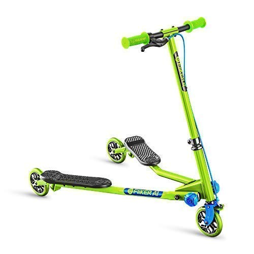Yvolution Y Fliker Air A1 Push Swing Scooter Winged Speeder Tri Wheel 3 Wheel Kick Scooter Carver Drifter for Boys/Girls/Children Kickboard - Multiple Colors (Green/Blue)