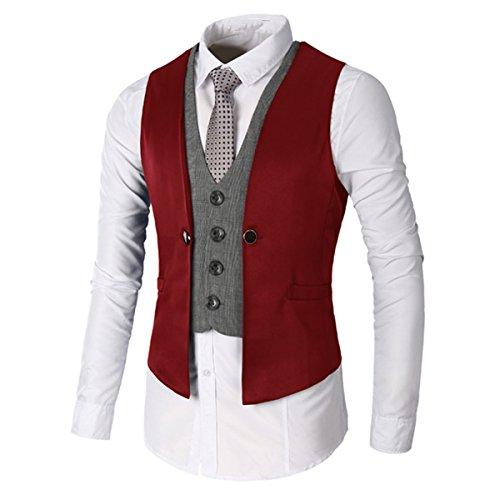 Hommes Fit Sans coton Rouge Soft Manches V Gilets Deux cou Formal Vest sans Slim Costume Veste Mariage Business Leichte Pièces Lanmworn Fausses Chemise dwZ4qIpd