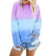 Anloli Sweatshirt for Women Long Sleeve Colorblock Tie Dye Pullover Tops