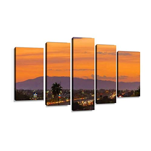 XEPPO Sunset Over The City of Burbank CA Prints Canvas Wall Art Abstract Landscape Photography Paintings for Modern Home Decor 5Pcs Modern Stretched and Framed