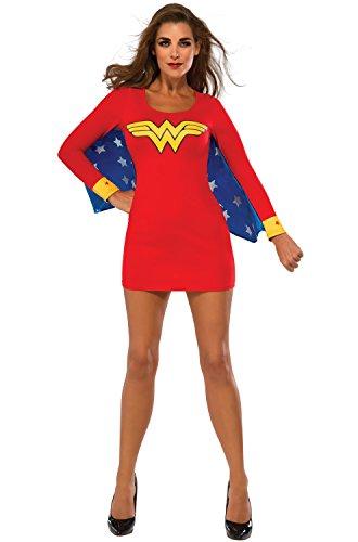 Rubie's Costume Co Women's DC Superheroes Wonder Woman Cape Dress, Multi, (Superhero Family Costumes)