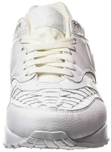 Nike Air Max 1 Woven - zapatillas de running de piel hombre blanco - Weiß (White/White/Black)