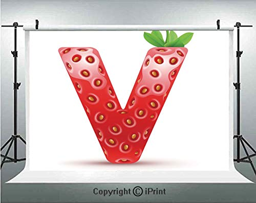 Letter V Photography Backdrops ABC of The Organic Life Theme Juicy Strawberry Nutrition and Nature,Birthday Party Background Customized Microfiber Photo Studio Props,10x6.5ft,Vermilion Green Orange