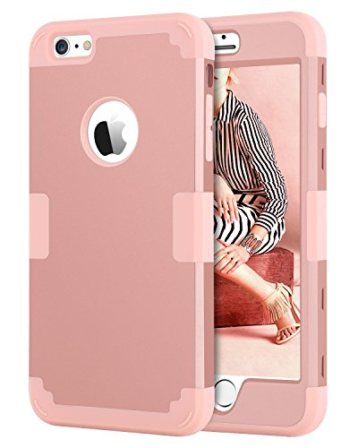 iPhone 6 Plus Case, iPhone 6S Plus Case, BENTOBEN iPhone 6 Plus 5.5 Inch Case 3-in-1 Hybrid Shockproof Polycarbonate Hard Covers Soft Silicone Interior Cover Rose Gold&Pink