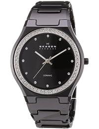 Skagen 813LXBC Women's Ceramic Wrist Watch, Black Dial
