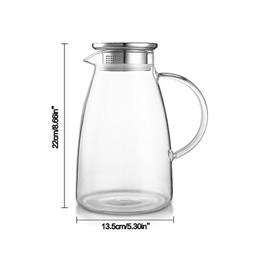 JIAQI 68 Ounces Glass Pitcher with Stainless Steel Lid, Hot/Cold Water Jug, Juice and Iced Tea Beverage Carafe by JIAQI (Image #1)