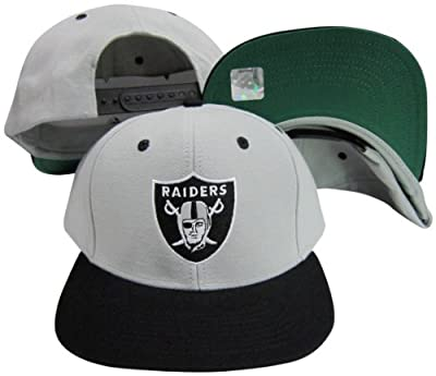 Reebok Oakland Raiders Logo Grey/Black Two Tone Plastic Snapback Adjustable Plastic Snap Back Hat/Cap