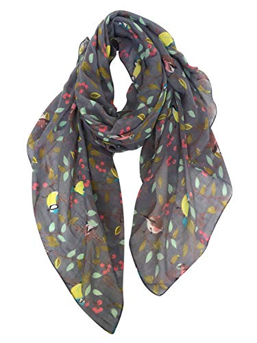 GERINLY Scarves for Women Fashion Floral Birds Print Headwraps Long Scarf (Dark Grey) -