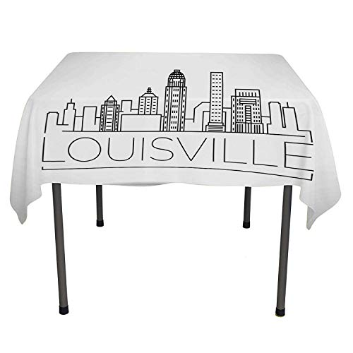Kentucky Outdoor Tablecloth Minimalist Buildings of Louisville City Greyscale Typographic Illustration Pale Grey Black tablecloths Party Decorations Rectangle Tablecloth 60 by 84 inch ()